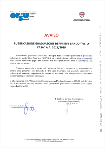 graduatorie definitive fitto casa 18 19